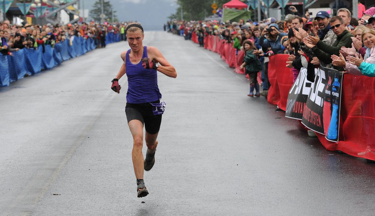 Christy Marvin of Palmer, seen here winning Mount Marathon in her 2013 debut, should be a strong contender in Monday's 89th edition of the race in Seward. (Erik Hill / ADN archive 2013)