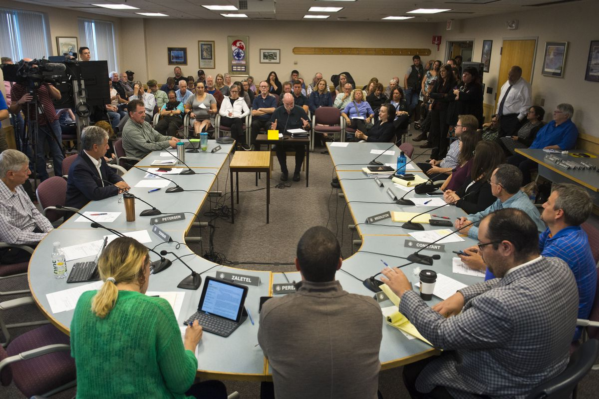 A special meeting of the Anchorage Assembly's Committee on Homeless is attended by an overflow crowd at City Hall on Friday, July 26, 2019. (Marc Lester / ADN)