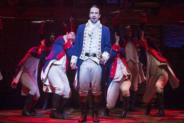 "FILE — Lin-Manuel Miranda as Alexander Hamilton in ""Hamilton"" at the Richard Rodgers Theater in New York, July 11, 2015. According to figures released by the Broadway League on Dec. 28, 2017, the 32 plays and musicals currently running brought in $35,796,213 between Dec. 18 and Dec. 24. This is almost $5 million more than last year, despite a slight decrease in attendance. (Sara Krulwich/The New York Times)"