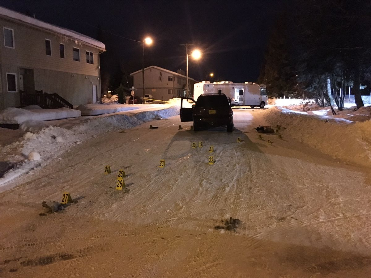 Anchorage police conducted a death investigation near Eighth Avenue and Nelchina Street on the morning of Wednesday. (Chris Klint / Alaska Dispatch News)
