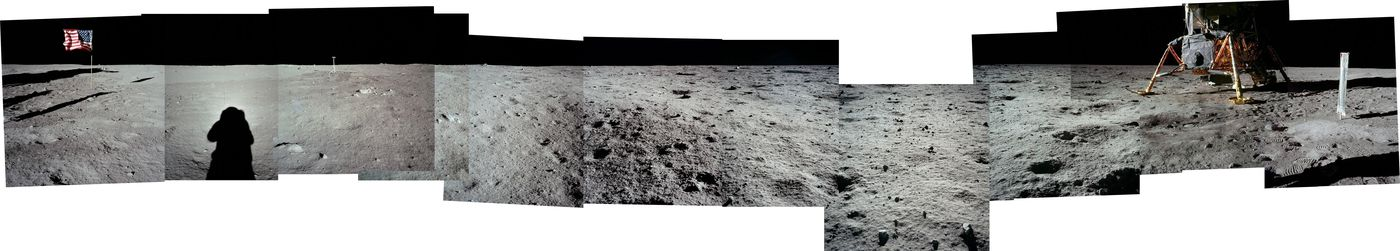 A panoramic photo assembled by Dave Byrne uses images taken by Edwin 'Buzz ' Aldrin on the moon during the Apollo 11 mission. NASA