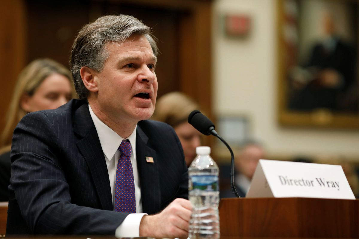 FBI Director Christopher Wray testifies Thursday before a House Judiciary Committee hearing on Capitol Hill in Washington. REUTERS/Aaron P. Bernstein