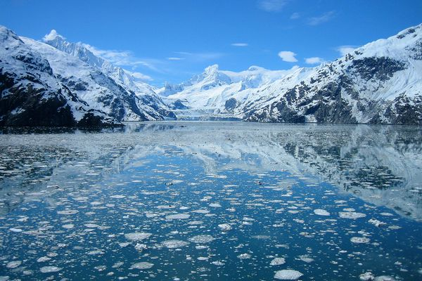 Johns Hopkins Glacier on a clear and sunny day. (Photo courtesy National Park Service)