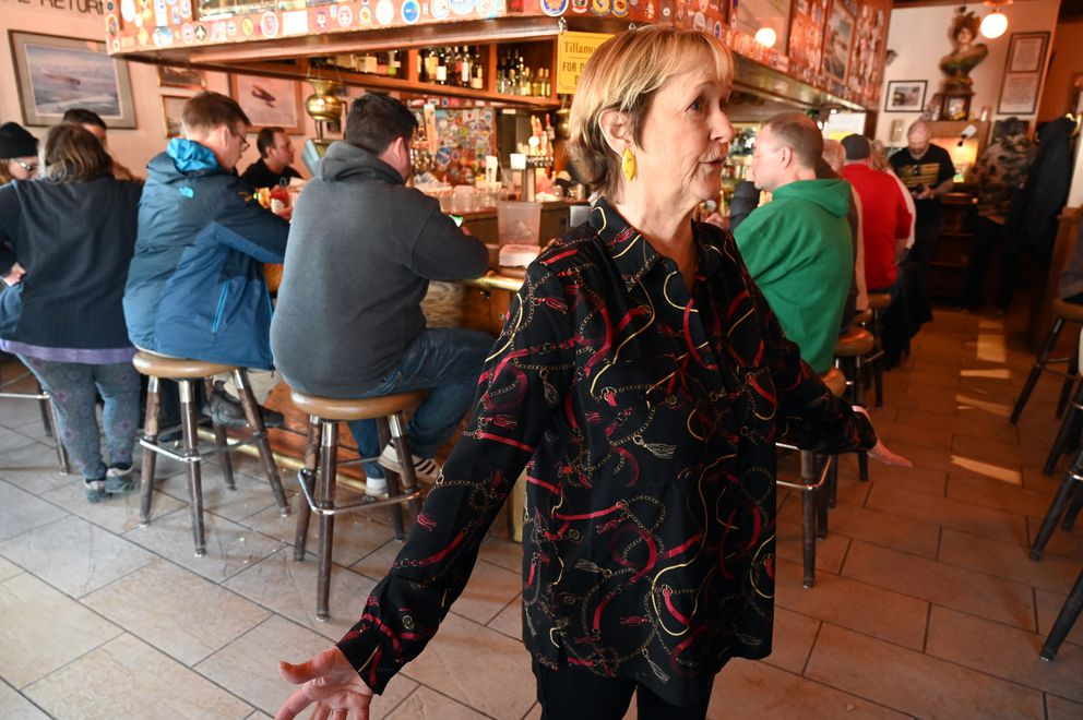 F Street manager Lori Henderson talks about the city-wide restaurant and bar restrictions Monday, March 16, 2020. (Anne Raup / ADN)
