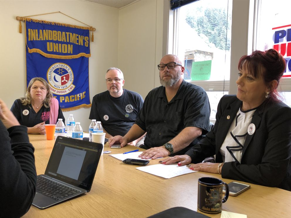 Leaders of the Inlandboatmen's Union of Alaska talk to reporters Wednesday morning, July 24, 2019 in Juneau. From left to right are Alaska regional director Trina Arnold, board vice chair Robb Arnold, local chapter president John Fageaux and IBU president Marina Secchitano. (James Brooks / ADN)