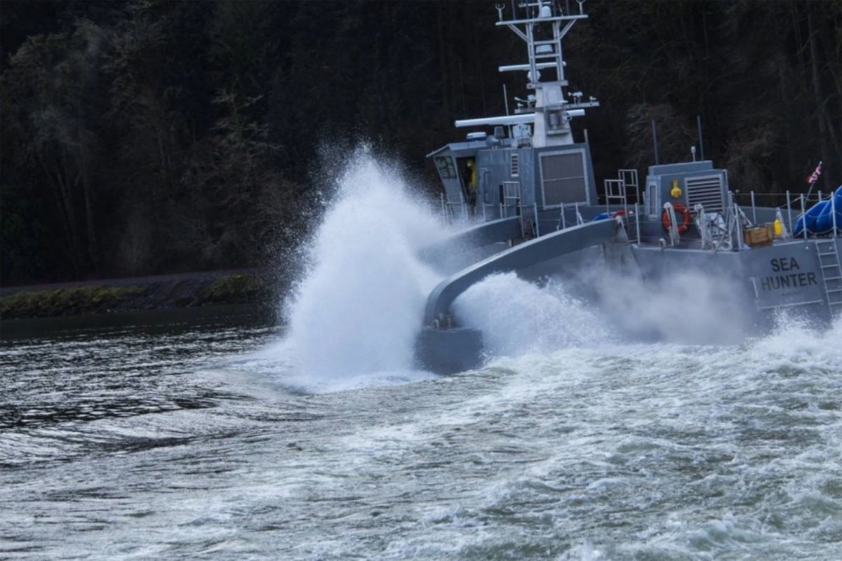 The Sea Hunter, which is designed to be used as an unmanned vessel, is shown here during testing.  Screen grab photo from DARPA video.