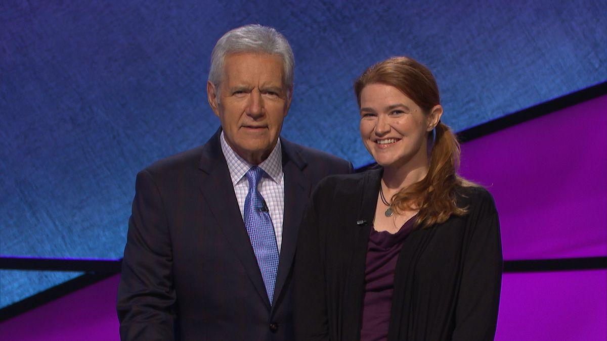 Sarah Sinclair poses with Alex Trebek. Photo Courtesy: Jeopardy Productions, Inc.