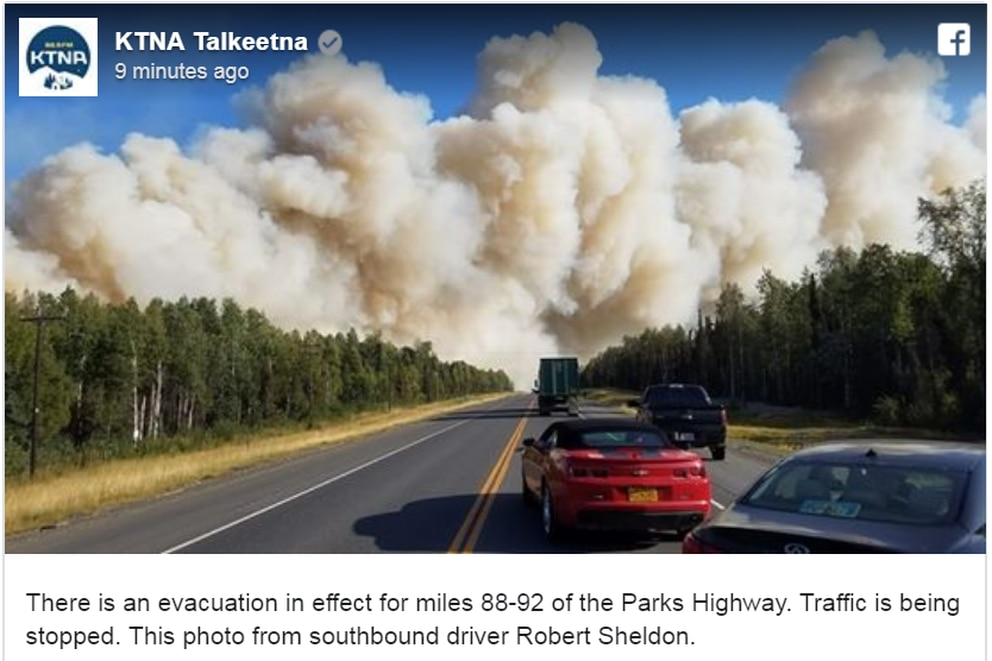 KTNA shared this photo credited to Robert Sheldon of the fire burning near Mile 90 of the Parks Highway on Saturday, Aug. 17, 2019. (Facebook screengrab)