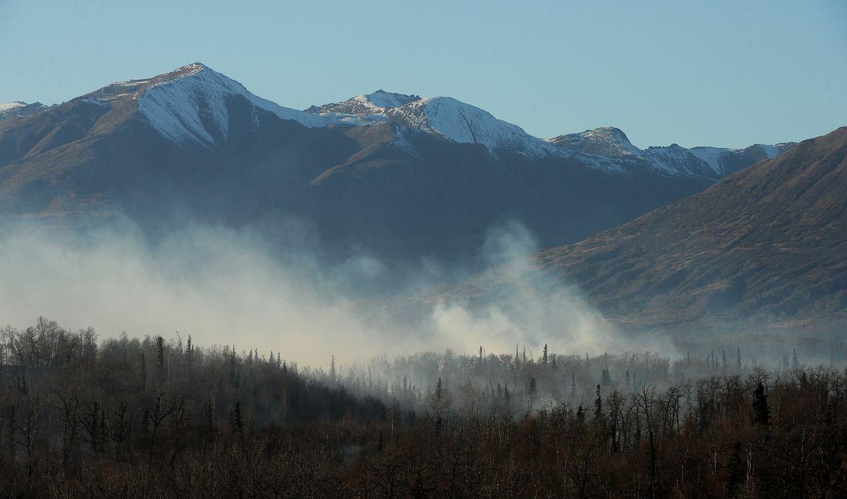 Smoke rises from the Moose Creek wildfire north of Palmer on Saturday. (Bob Hallinen / Alaska Dispatch News)