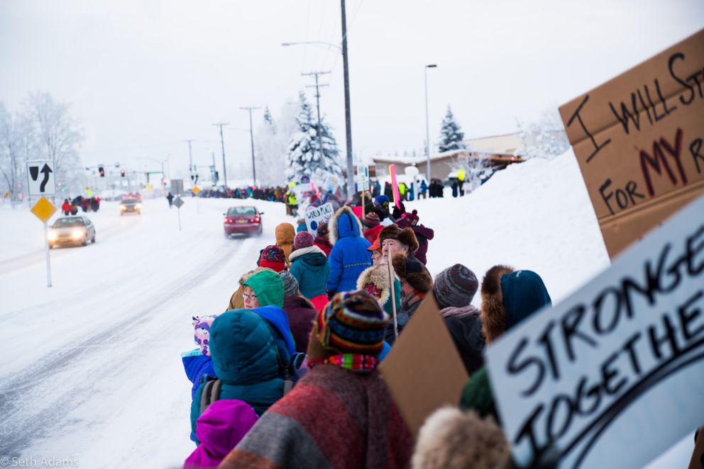 The Women's March on Fairbanks drew women, men and children out in subzero temperatures. The reported high was 19 below zero. The Fairbanks Daily News-Miner estimated 2,000 people participated in the march Saturday. (Seth Adams)