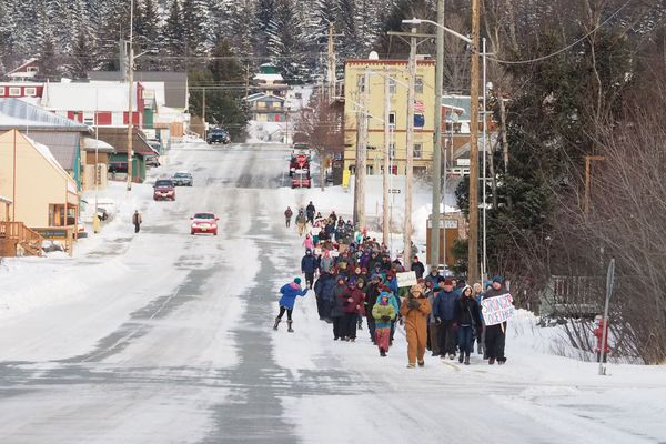 An estimated 150-170 people participated in Women's March in Haines, Alaska, Saturday, Jan. 21, 2017. (John Hagen)