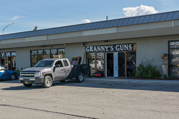 South Anchorage gun store Granny's Guns is closed Friday, June 7, 2019 after an early morning burglary on Thursday. (Loren Holmes / ADN)