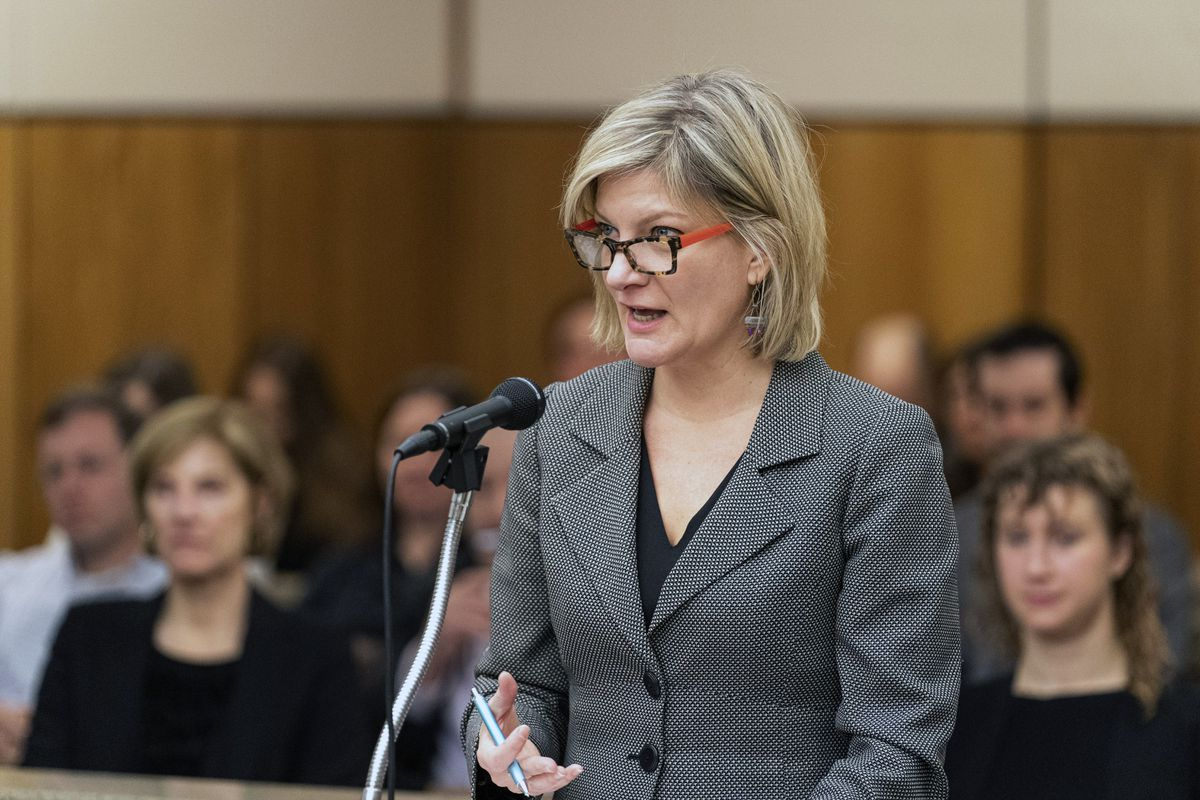 Former Alaska Attorney General Jahna Lindemuth argues on behalf of the Recall Dunleavy campaign on Jan. 10, 2020 in Alaska Superior Court. A state judge has ruled that Alaska must pay more than $190,000 in legal costs related to the lawsuit. (Loren Holmes / ADN archive)