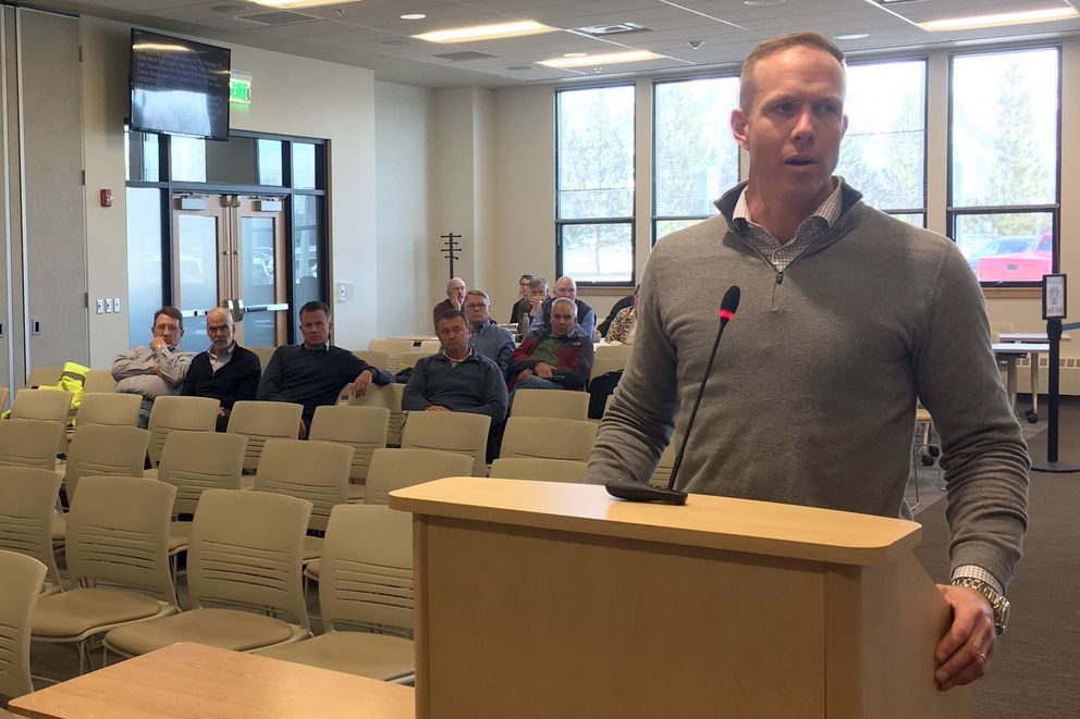Eric Oien, the owner of the Denali Timber Management Co., testifies at a Mat-Su Borough Assembly meeting Tuesday, April 3, 2018. (Zaz Hollander / ADN)