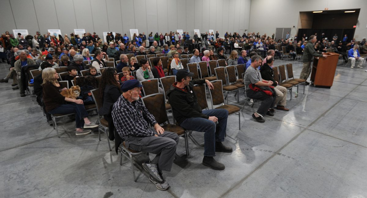 Alaskans testified during the U.S. Army Corps of Engineers - Alaska District's final public hearing for the Pebble Limited Partnership draft environmental impact statement at the Dena'ina Center on Tuesday, April 16, 2019. (Bill Roth / ADN)