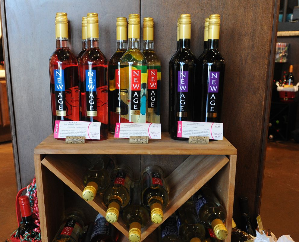Wines are on display at the WineStyles shop in south Anchorage, Alaska on Friday, Dec. 22, 2017. (Doug Fifer and Kim Fifer are the owners of the wine store. (Bob Hallinen / ADN)