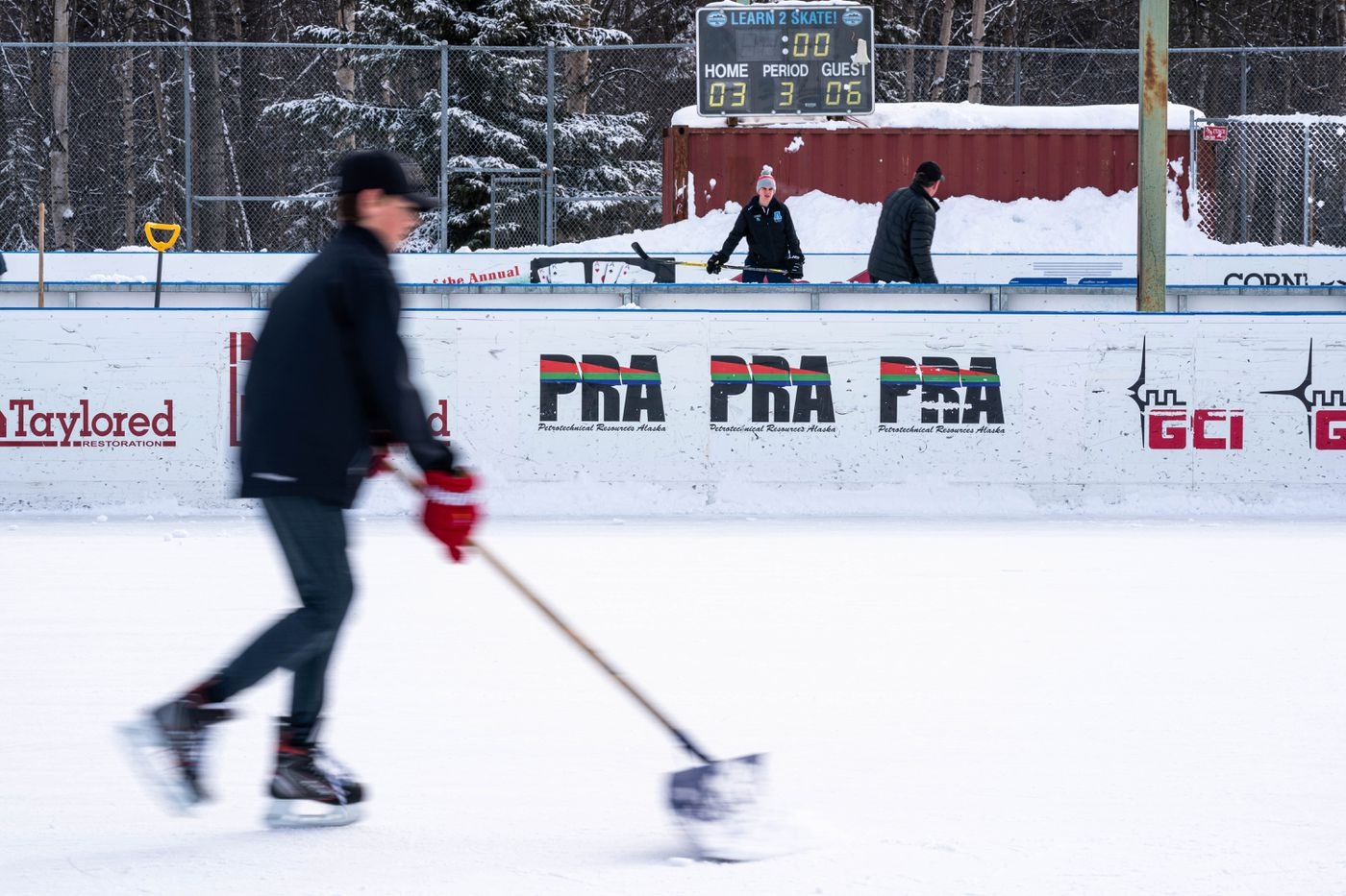 People practice hockey on Wednesday, March 18, 2020 at the Bonnie Cusack Memorial Rink in Anchorage. (Loren Holmes / ADN)