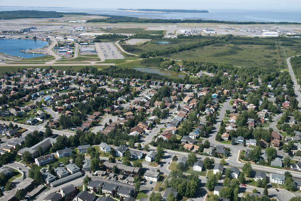 An aerial view of homes in western Anchorage on Tuesday, July 19, 2016. (Marc Lester / Alaska Dispatch News)