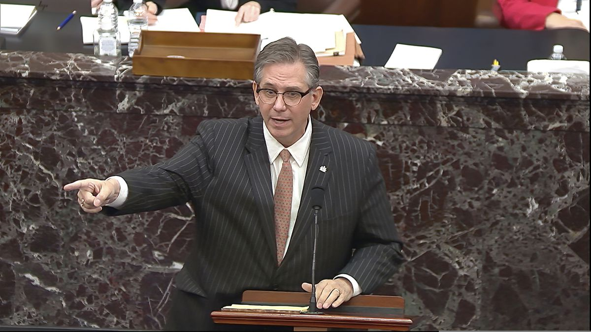 In this image from video, Bruce Castor, an attorney for former President Donald Trump speaks during the second impeachment trial of Trump in the Senate at the U.S. Capitol in Washington, Tuesday, Feb. 9, 2021. (Senate Television via AP)