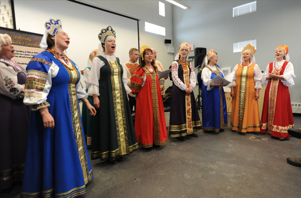 Zlata Lund, right, sings with the Russian American Colony Singers in Anchorage on Thursday. (Bill Roth / Alaska Dispatch News)