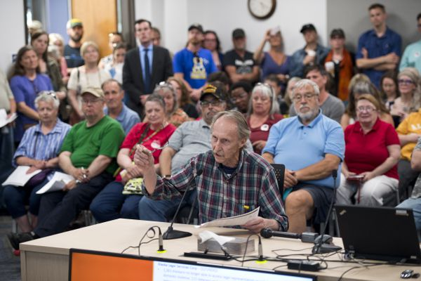 Steve Lewis makes a statement to legislators during a listening session with legislators. Opponents of Gov. Mike Dunleavy's budget vetoes gathered to rally outside the Legislative Information Office in Anchorage on July 2, 2019. (Marc Lester / ADN)
