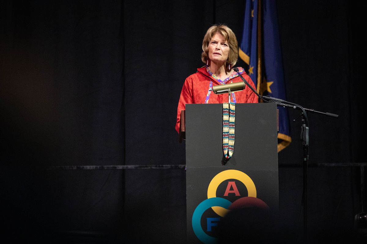 Senator Lisa Murkowski, R-Alaska, speaks to delegates on Saturday, Oct. 19, 2019 during the Alaska Federation of Natives convention at the Carlson Center in Fairbanks. (Loren Holmes / ADN)