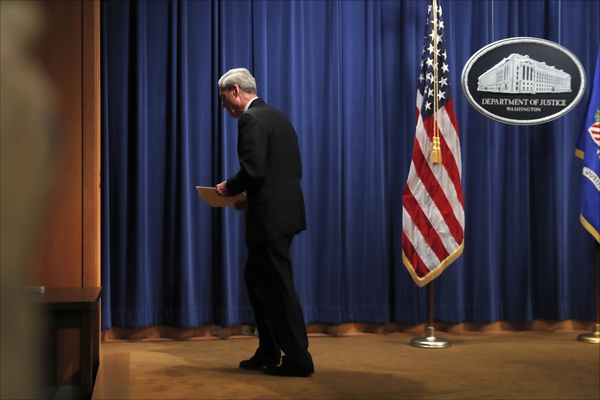 Special counsel Robert Mueller leaves the podium after speaking at the Department of Justice Wednesday, May 29, 2019, in Washington, about the Russia investigation. (AP Photo/Carolyn Kaster)