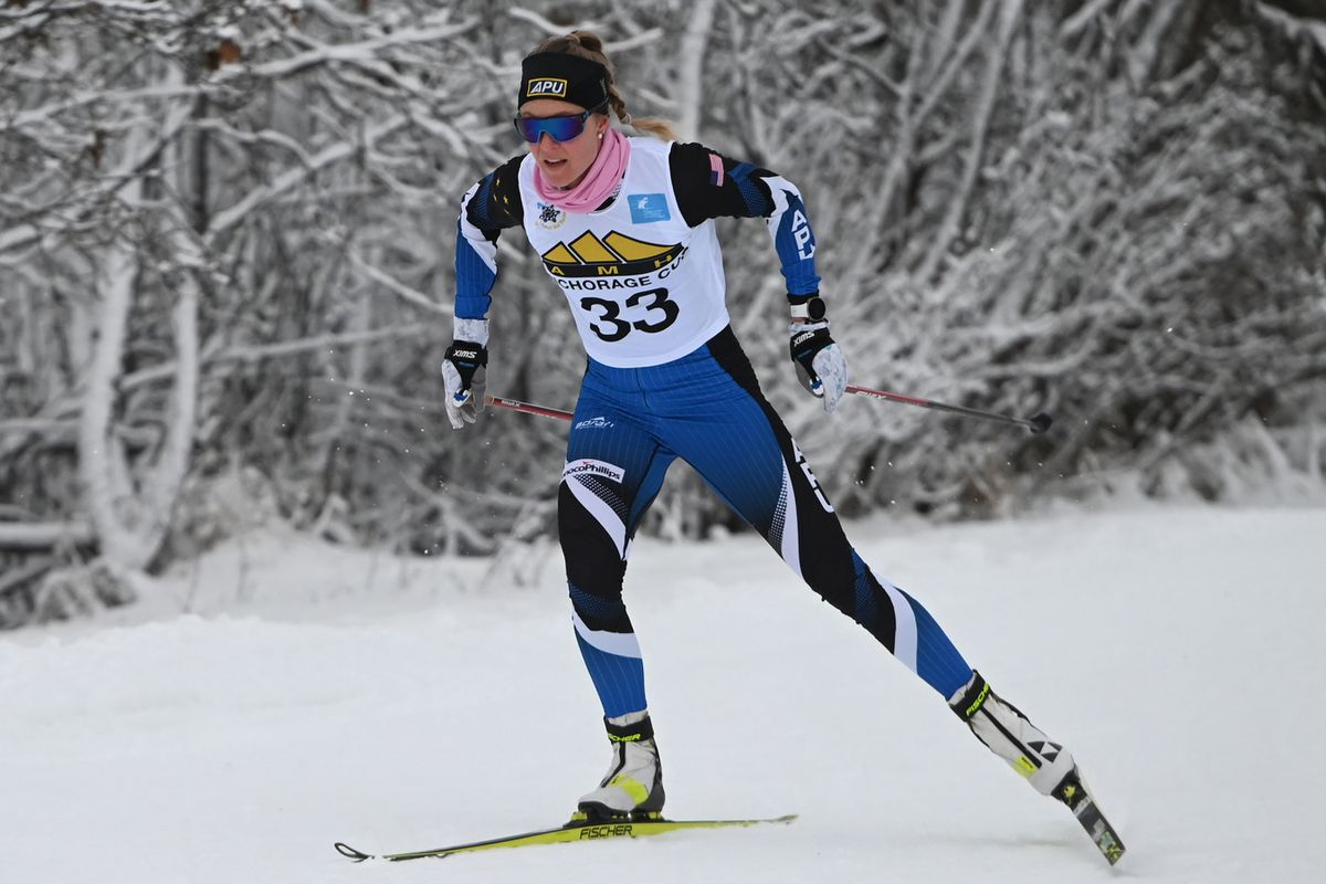 Sadie Maubet Bjornsen, a two-time Olympian from Anchorage and APU, skis towards the finish during the AMH Anchorage Cup at Kincaid Park on Sunday, Dec. 13, 2020. Maubet Bjornsen is skipping the early season World Cup races and will join her US/APU teammates in Europe after the holidays. (Bill Roth / ADN)