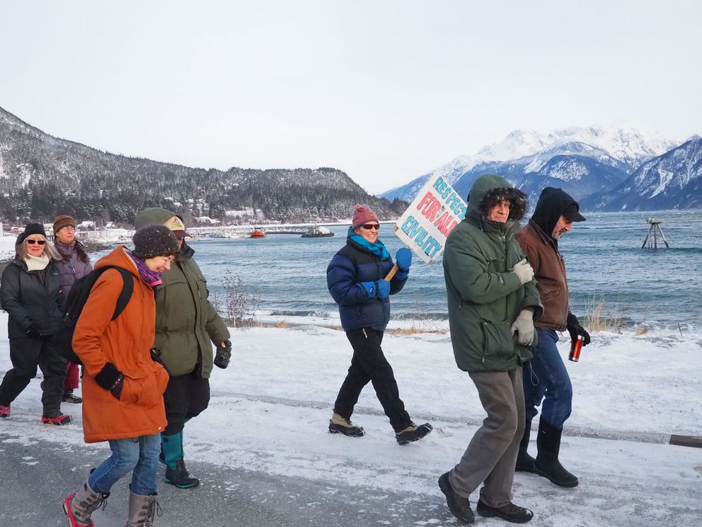 An estimated 150-170 people participated in Women's March in Haines on Saturday. (John Hagen)