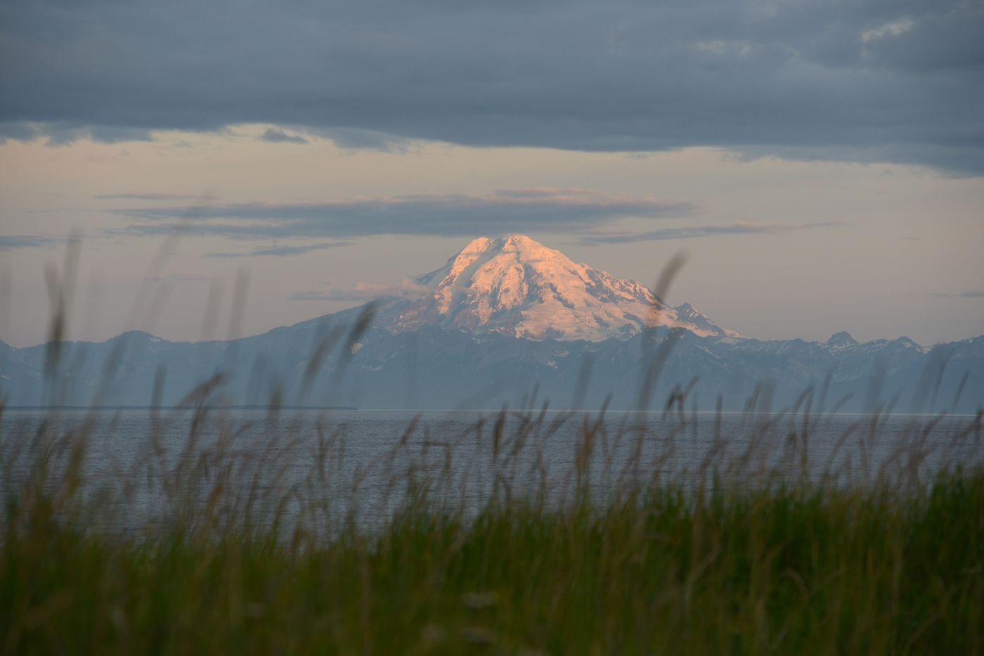 Mount Redoubt shows the first light of the morning July 21, 2020. (Anne Raup / ADN)