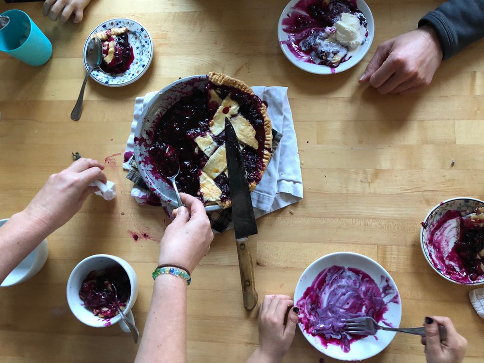 You could eat this wild blueberry pie in another state, but it wouldn't taste the same. (My recipe sets up beautifully, but we couldn't wait …) (Photo by: Julia O'Malley/ADN)