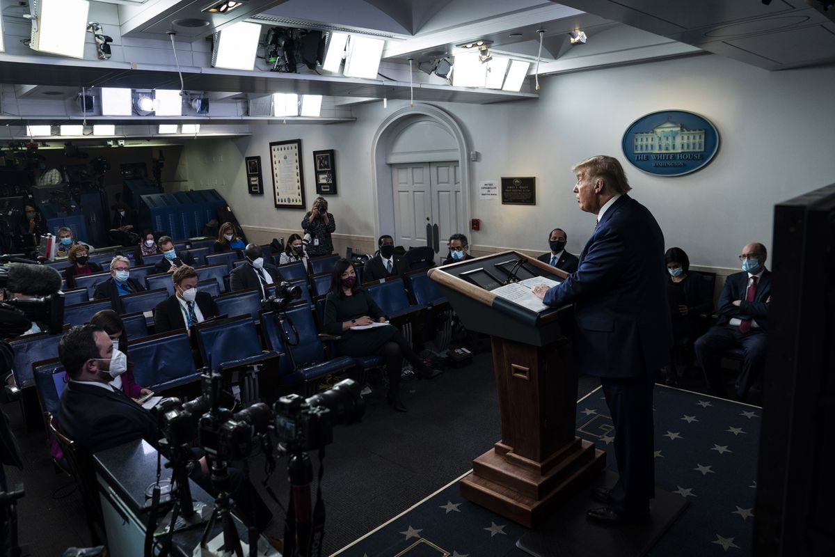 President Donald Trump delivers remarks on delivering lower prescription drug prices in the White House briefing room on Friday, Nov 20. Washington Post photo by Jabin Botsford