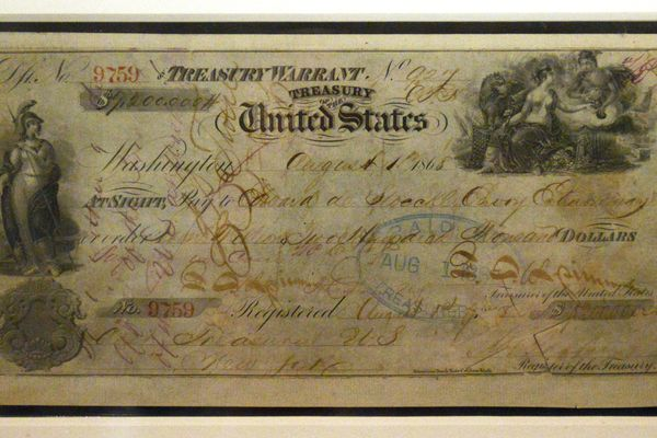 The 1868 check for the purchase of Alaska from Russia is displayed in the exhibit Polar Bear Garden: The Place Between Alaska and Russia on Friday, March 10, 2017, at the Anchorage Museum at Rasmuson Center. (Erik Hill / Alaska Dispatch News)