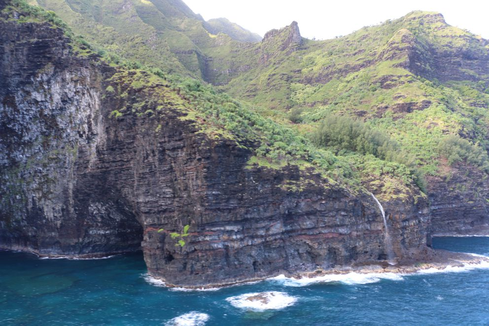 The area over Napali Coast State Wilderness Park where search and rescue crews are searching for a tour helicopter that disappeared with several people aboard. (Dan Dennison/Hawaii DLNR via AP)