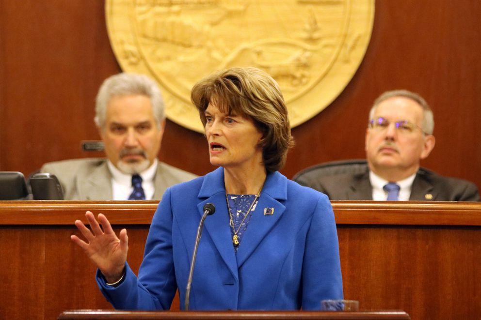U.S. Sen. Lisa Murkowski delivers her annual speech to the Alaska Legislature at the Capitol in Juneau on February 22, 2018. (Nathaniel Herz / ADN)