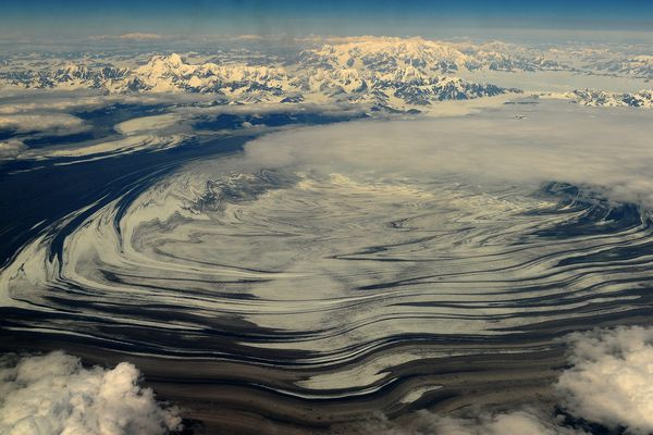 Malaspina Glacier stretches out in Wrangell-St. Elias National Park on Friday, July 3, 2015. Malaspina is the largest piedmont glacier in the world and is 40 miles wide by 28 miles long. (Bob Hallinen / Alaska Dispatch News)
