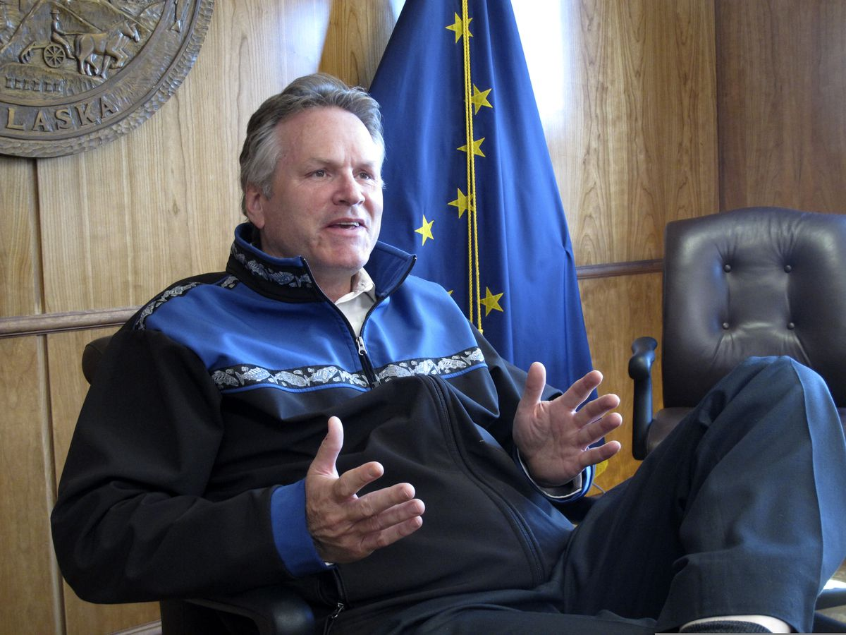 Alaska Gov. Mike Dunleavy gives an interview in the state Capitol on Monday, June 7, 2021, in Juneau, Alaska. The governor urged legislative action on his proposal for the dividend paid to residents from Alaska's oil-wealth fund. (AP Photo/Becky Bohrer)