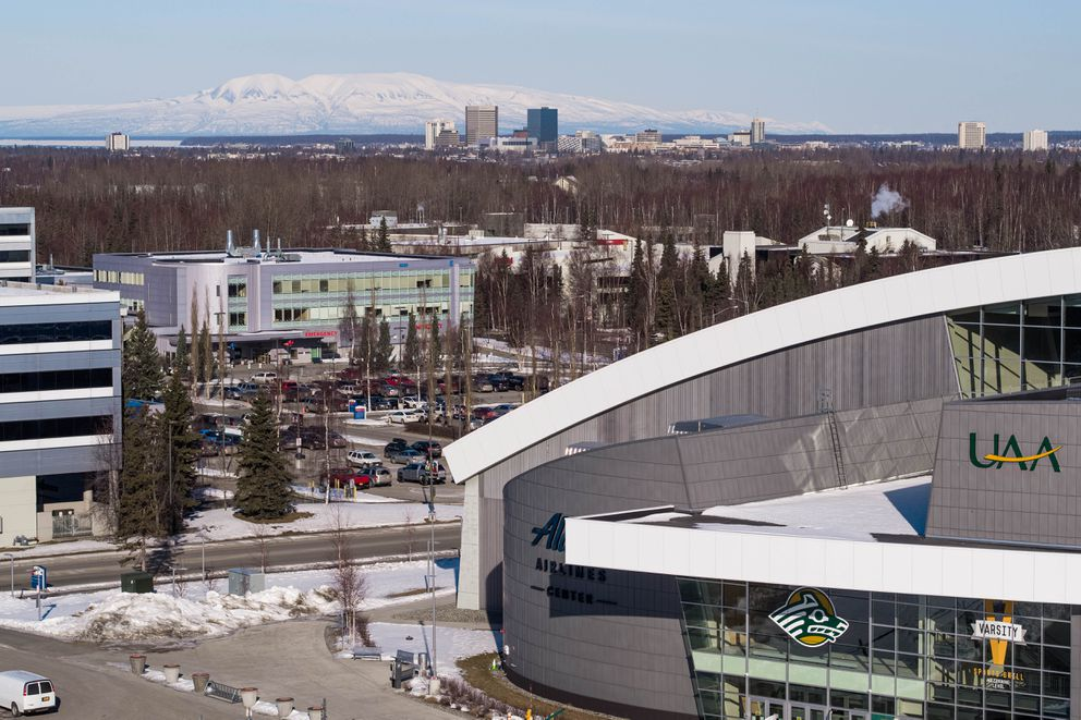 The Alaska Airlines Center on the campus of the University of Alaska Anchorage, photographed Tuesday, March 31, 2020. Last week the Municipality of Anchorage began to modify the 5,000 seat multi-use arena into a medical care facility that can hold up to 150 COVID-19 patients. (Loren Holmes / ADN)