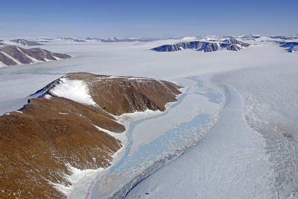Refrozen meltwater ponds in northeast Greenland seen during an NASA Operation IceBridge flight in April 2013.
