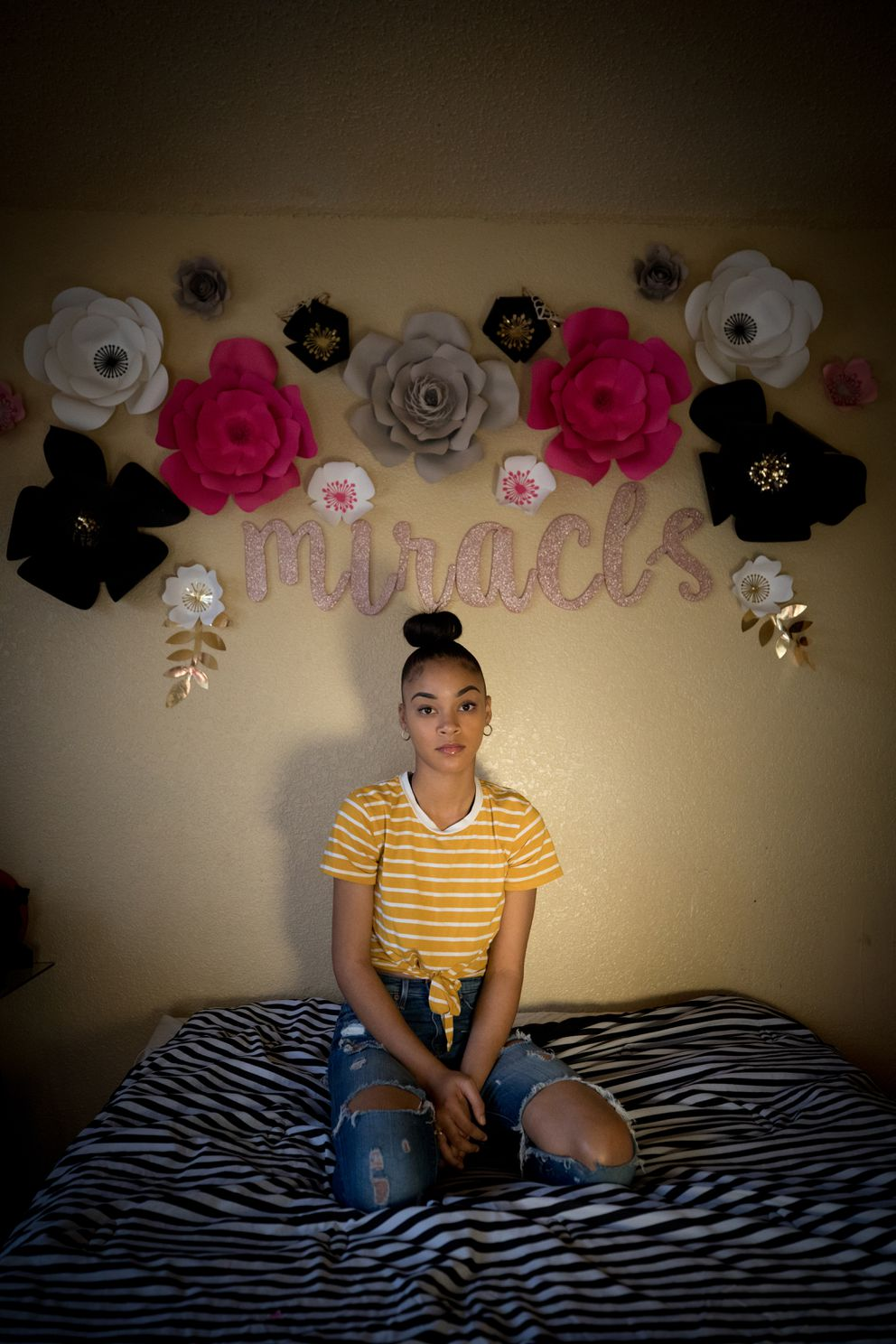 Miracle Slover, 17, is shown at home in Fort Worth, Texas, on Nov. 23, 2019. (Photo for The Washington Post by Allison V. Smith)