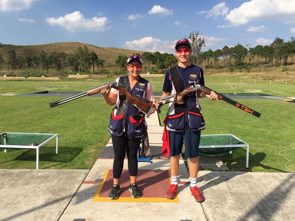 The USA Shooting team of Ashley Carroll of Solvang, Calif., left, and Grayson Davey of Anchorage won gold in the trap mixed team event on Tuesday in Guadalajara, Mexico. (Photo by USA Shooting)
