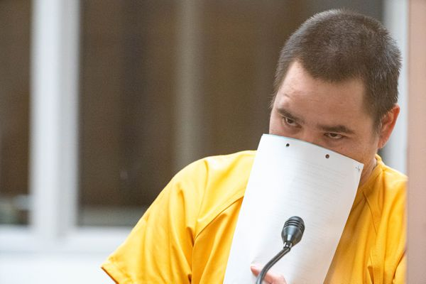 Moses Crowe is arraigned for murder Friday, Nov. 29, 2019 at the Anchorage Jail courtroom. According to charging documents, Crowe shot his sister during a Thanksgiving gathering. (Loren Holmes / ADN)
