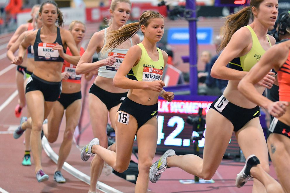 ALBUQUERQUE, NEW MEXICO - FEBRUARY 14, 2020: Allie Ostrander competes during the 3000m womenÕs final at the Albuquerque Convention Center on February 14, 2020 in Albuquerque, New Mexico. (Photo by Sam Wasson for Anchorage Daily News)