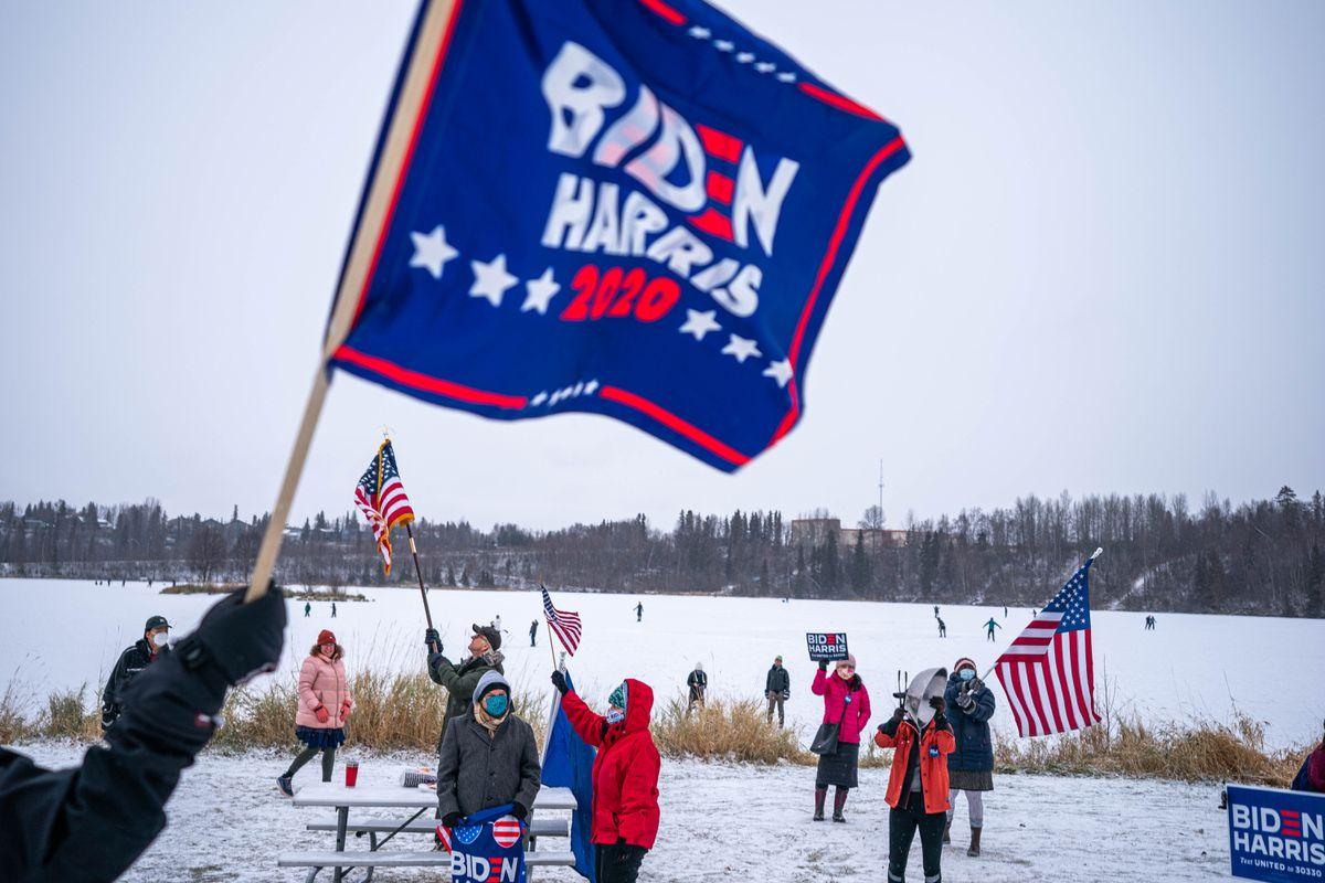 Supporters of President-elect Joe Biden gather to celebrate at Westchester Lagoon on Saturday, Nov. 7, 2020 in Anchorage. (Loren Holmes / ADN)