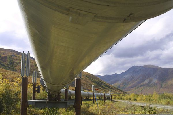 FILE - In this undated file photo showing the 800-mile Trans-Alaska pipeline that feeds 950,000 barrels of oil a day to the West Coast snakes it way across the tundra north of Fairbanks, Alaska. BP, a major player on Alaska's North Slope for decades, is selling all of its assets in the state, the company announced Tuesday, Aug. 27, 2019. Hilcorp Alaska is purchasing BP interests in both the Prudhoe Bay oil field and the trans-Alaska pipeline for $5.6 billion, BP announced in a release. (AP Photo/Al Grillo, File)