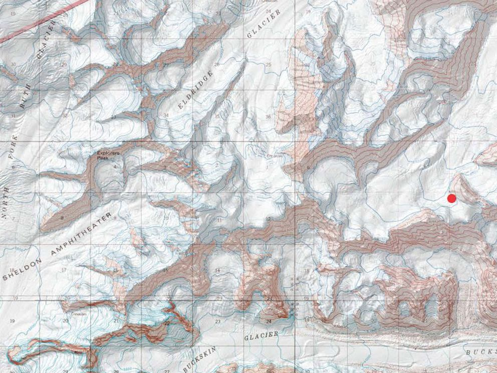 The red dot indicates the approximate area of the accident. The summit of Denali is about 20 miles to the west. (National Park Service)