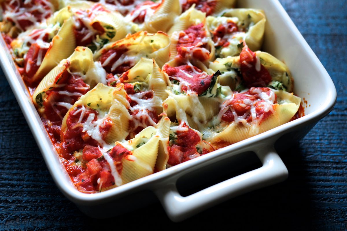 Spinach and artichoke stuffed shells (Maya Wilson / Alaska from Scratch)
