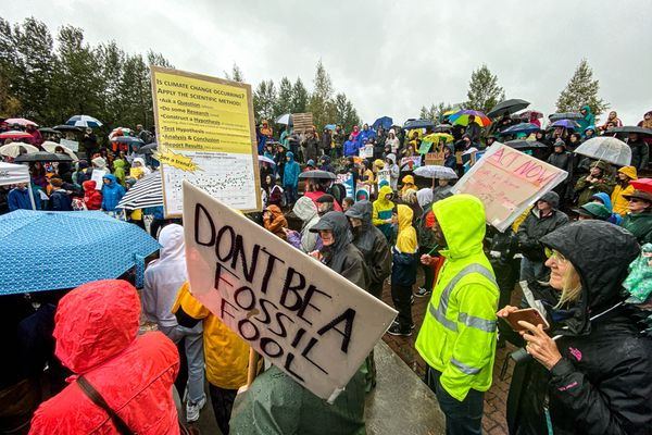 Around 200 mostly young protesters gather Friday, Sept. 20, 2019 at Cuddy Park in Anchorage. The group gathered to express their frustration over inaction by world leaders in addressing the climate crisis. (Loren Holmes / ADN)