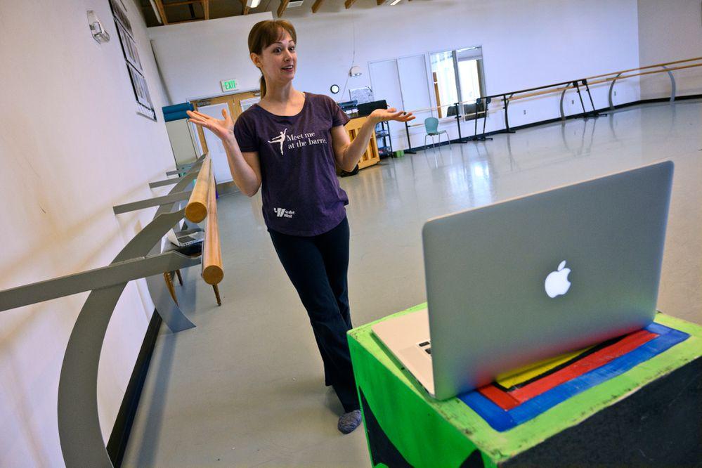 Ballet instructor Farah Zoetmulder hosts a livestream lesson for Alaska Dance Theatre's Facebook audience on March 20, 2020. (Marc Lester / ADN)
