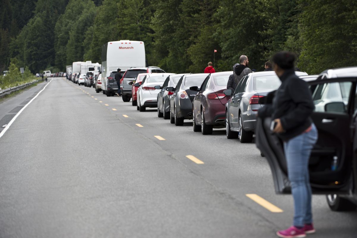 The Seward Highway closed south of Girdwood for several hours after a car accident on June 30, 2017. (Marc Lester / Alaska Dispatch News)